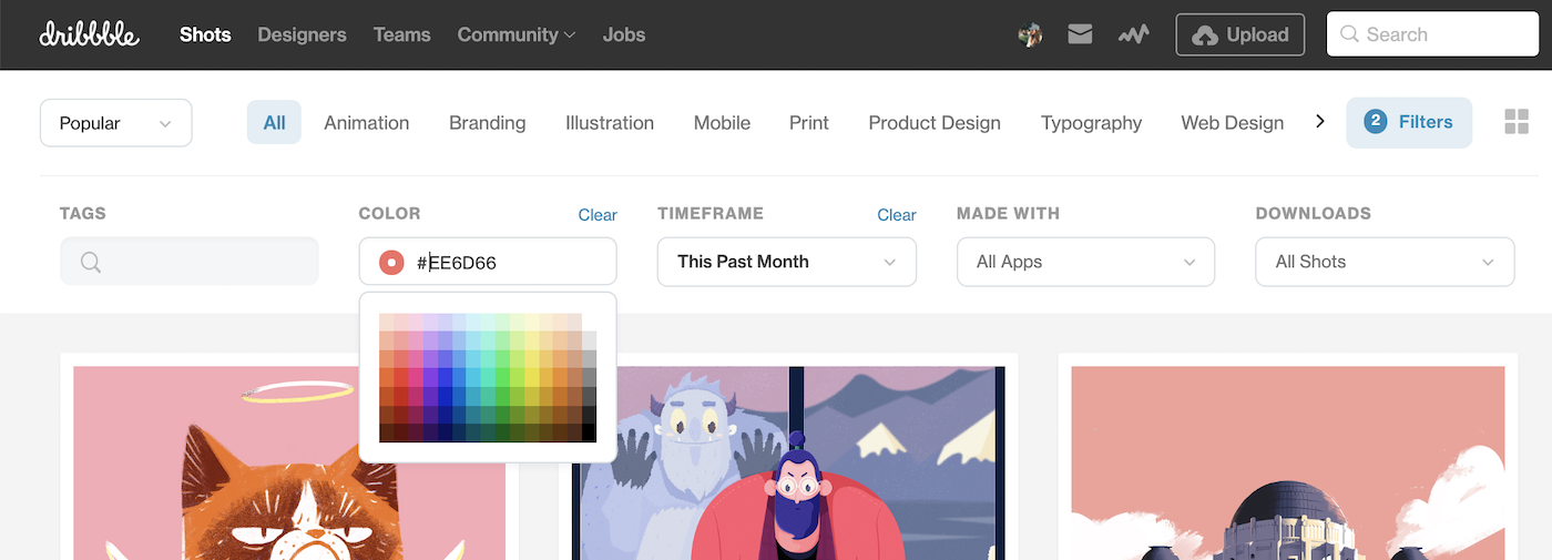 Fresh from Dribbble: Introducing a new browsing navigation and more