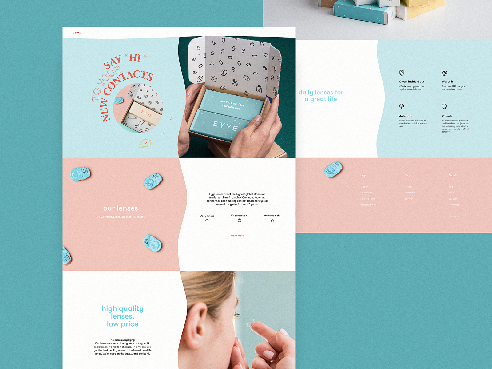 Contact Lenses Website Home Page by tubik
