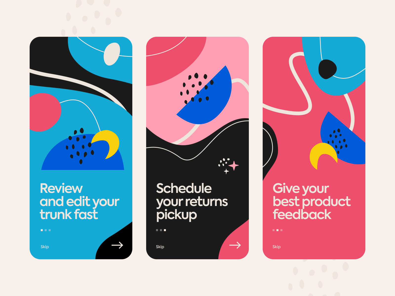 Onboarding screens exploration with abstract forms by Ania Chebysheva