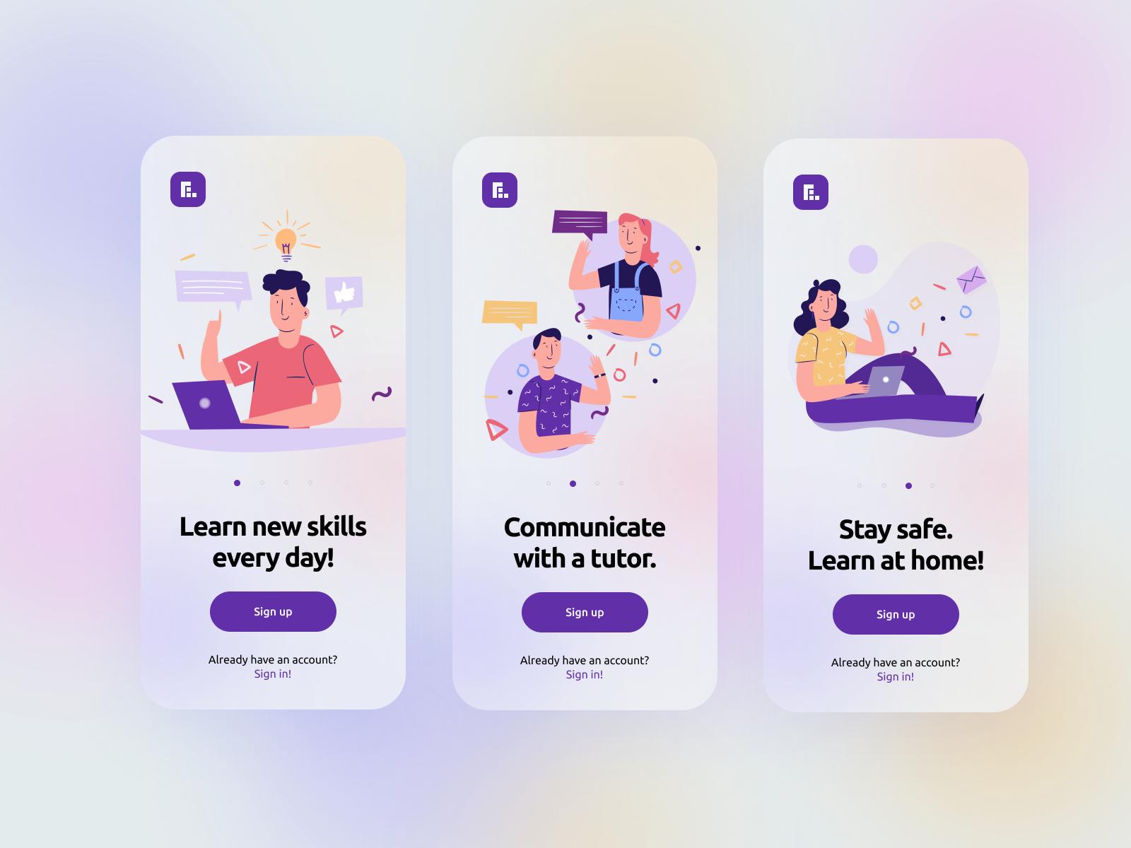 Onboarding Screens E-learning App by Mikołaj Gałęziowski
