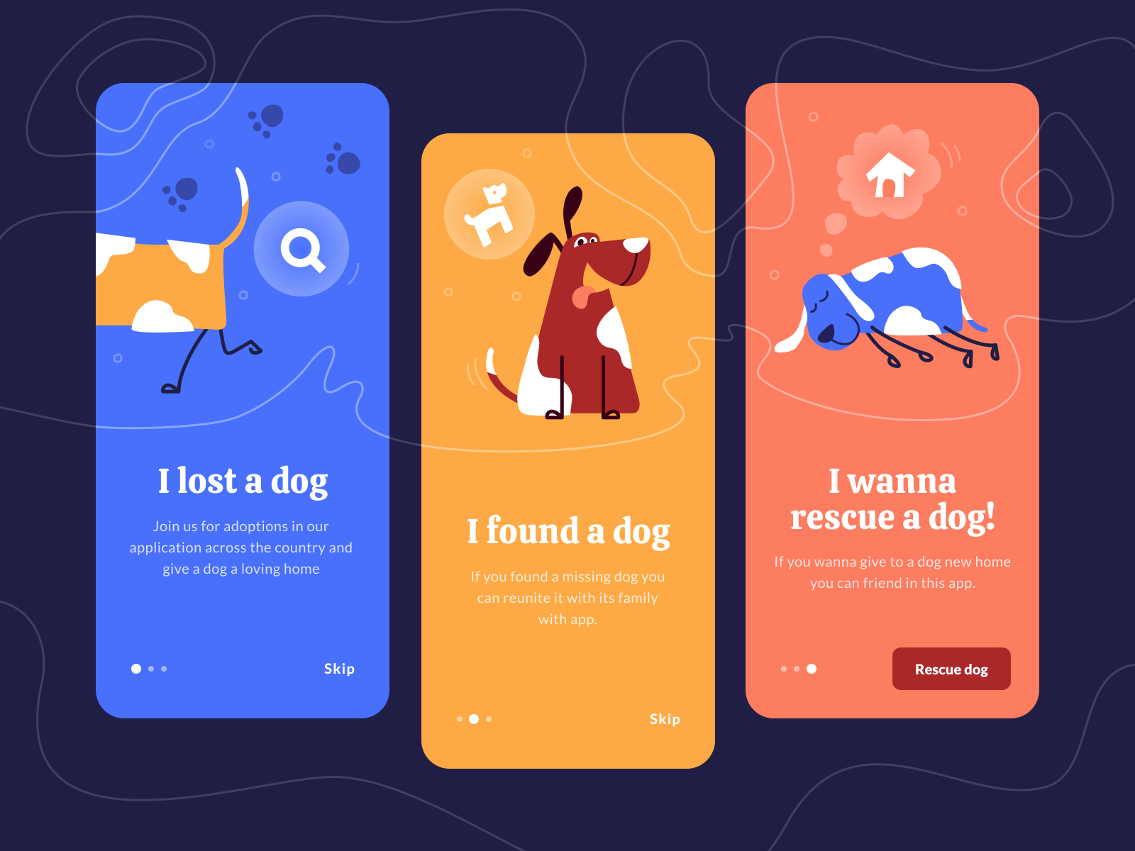 Onboarding screens for rescue dog app by Sergio Guba for Equal