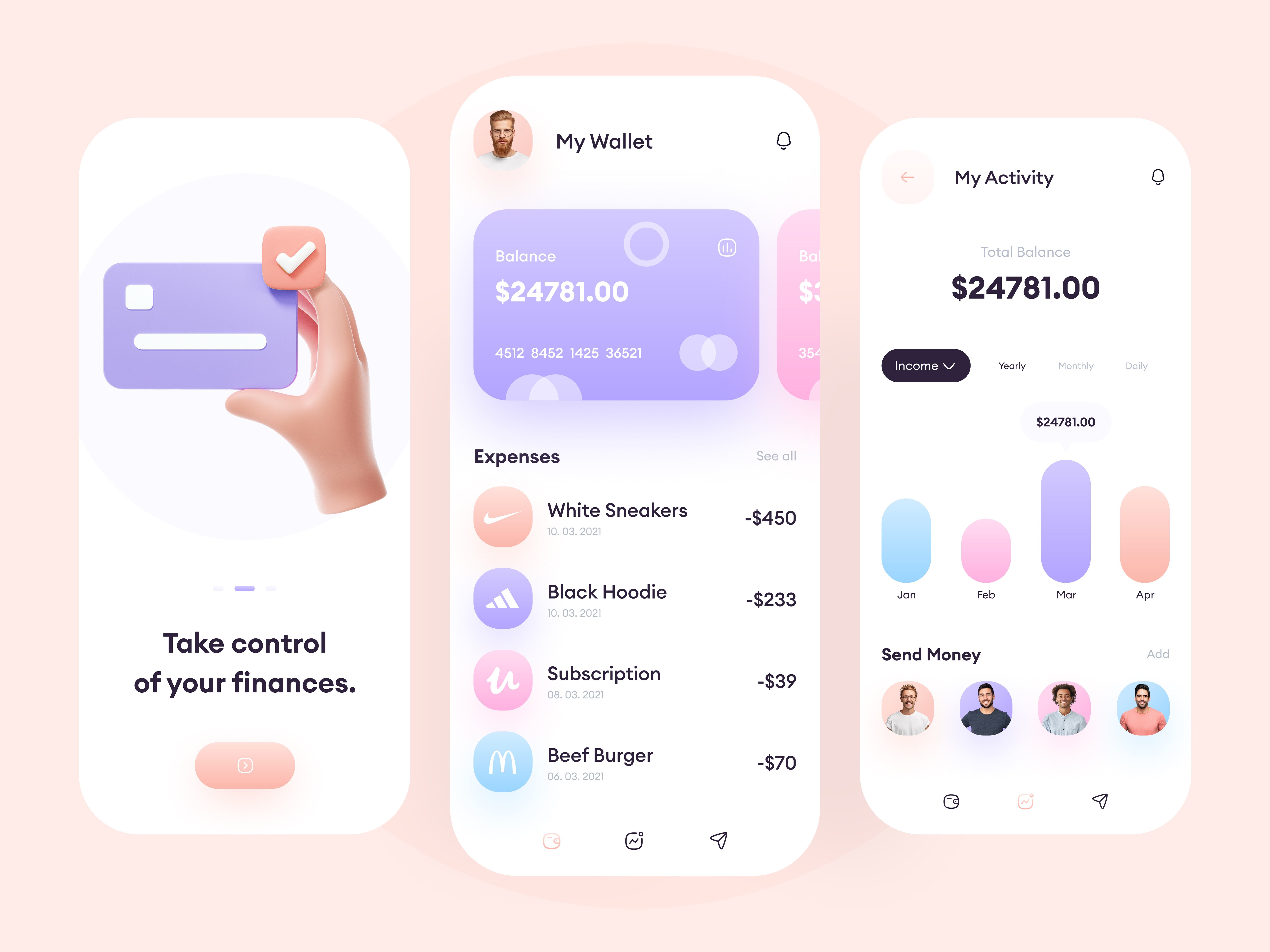 Online Wallet - Mobile App Design by Muhammad Shofiuddoula
