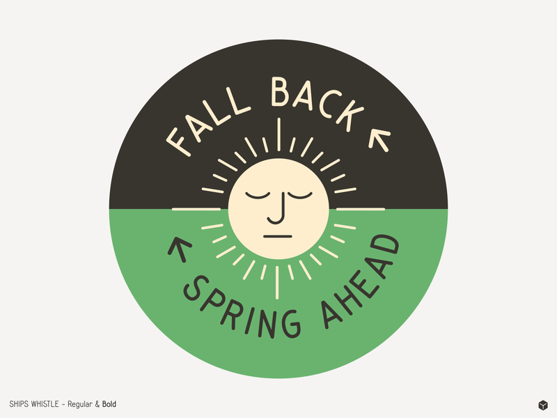 Fall Back, Spring Ahead sun vector font shipswhistle simplebits