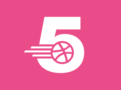 Dribbble is 5! dribbble birthday five pink playoff rebound thicklines