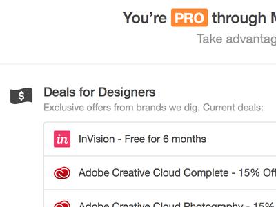 Deals for Designers dribbble pro deals