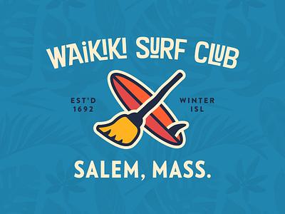 Waikiki Surf Club salem broom witch logo surf