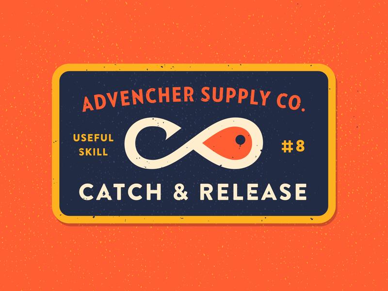 Catch & Release infinifish vector brandontext verlagcondensed badge advencher