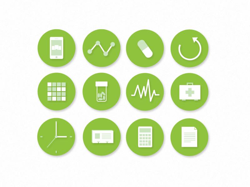 Pharmcons icons circle green doctor pills drugs vector pharmacy