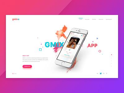 Gmix Web Site / Home Screen social app design website people summer love travel friend responsive preview