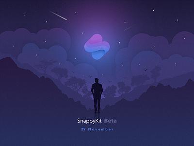 SnappyKit - Start Beta mountain trees stars night clouds man logo iillustration