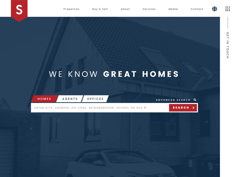 Real Estate Homepage ux design idx mls search hero homepage web real estate