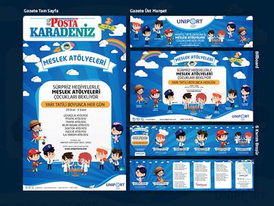 Meslek Atölyelesi Çalışmaları - Uniport AVM brochure billboard newspaper design typography illustration photoshop