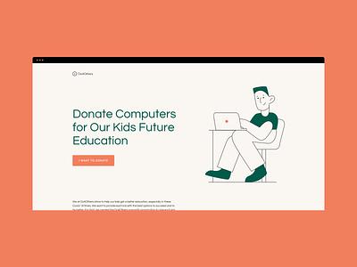 Computers Donation NGO Company Website Concept Design cool vector web userexperiance webdesign website userinterface illustration design ux ui