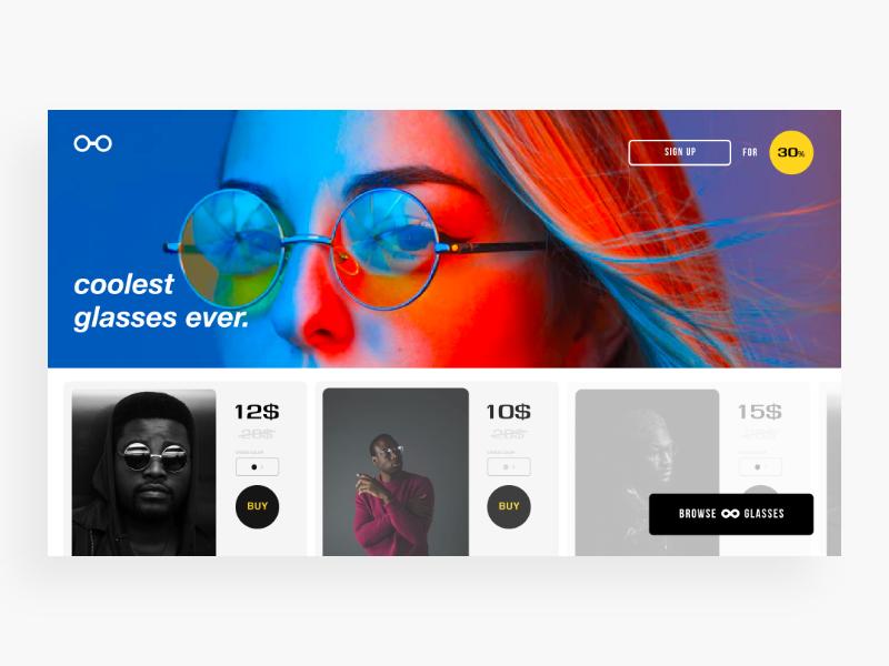 Glasses E-Commerce Website design graphicdesign productdesign glasses mobile userexperiance userinterface web webdesign website ux ui