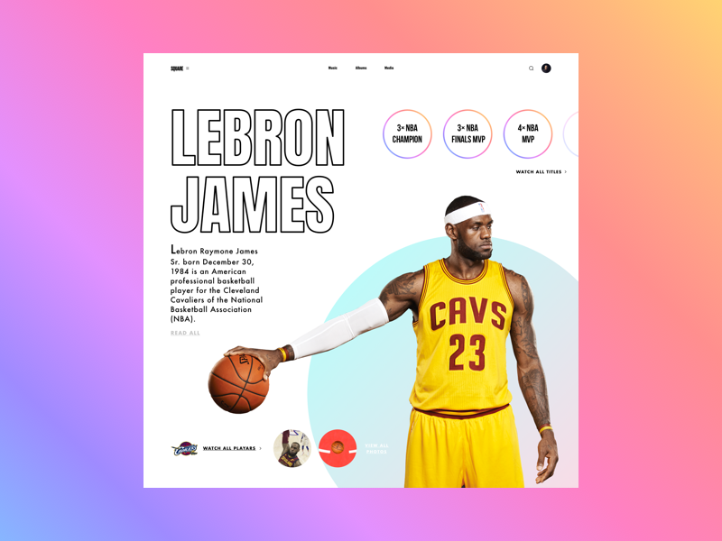 Lebron (SQUARE) userinterface web mobile website webdesign ux ui graphicdesign interface fashion design book