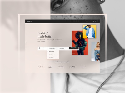 Newbook Homepage ux ui pink newbook models web graphic  design typography branding design