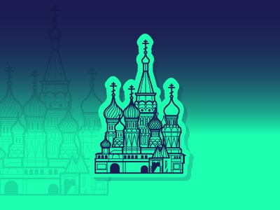 Moscow Saint Basil's Cathedral moscow icon illustration