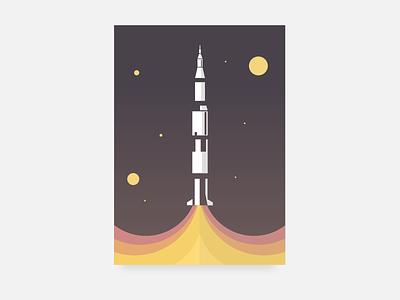 Saturn V apollo rocket saturn v saturn illustration flat vector