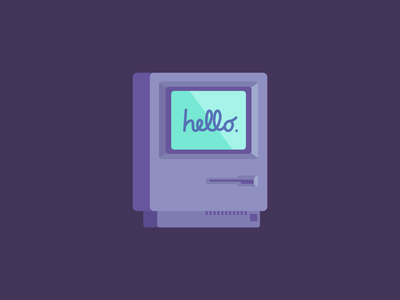 Hello from 1984 2d maintosh mac graphic design vector illustration flat