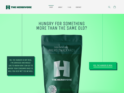 The Herbivore - Landing treats tasty herb green landing homepage shopify design web herbivore