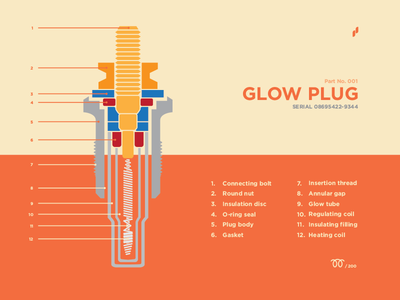 Glow Plug - Part No. 001 flowmo subtle part poster design plug glow