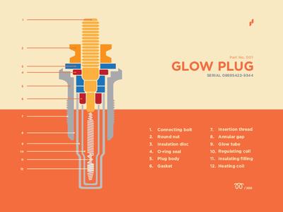 Glow Plug - Part No. 001 flowmo subtle part poster design plug glow