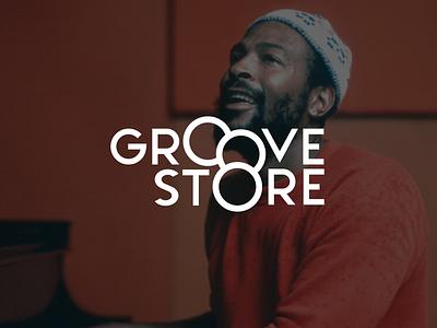Groove Store Logo style old school vinyl record groove music app soul jazz funk music logo
