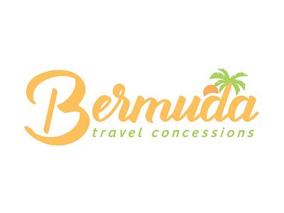 Bermuda bermuda script sun palm travel beach logo design branding logo