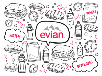 Evian Water Cart magenta white black arrows beverage snacks water icons pattern logo evian doodle