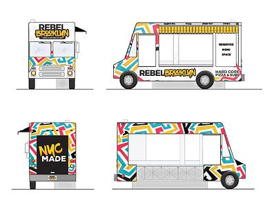 Rebel Brooklyn Food Truck rendering graffiti black yellow pattern new york design truck food brooklyn rebel