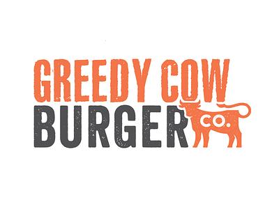 Greedy Cow Burger Co. clean simple black orange brand texture logo company burger cow greedy