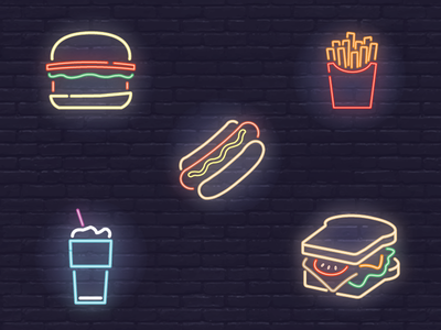 Neon Icons beverage food light brick shake panini hot dog fries burger icon neon