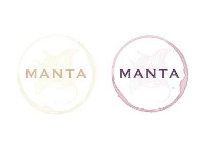 Manta Wine white red stain watercolor logo brand wine ray manta