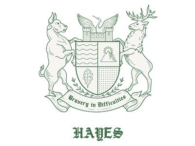 Coat of Arms oak sun mountain heron minimalistic shapes elk bull tablet drawn hand coatofarms coat