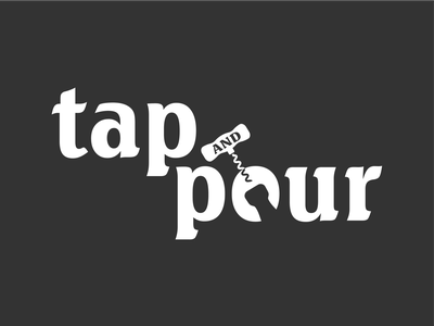 Tap & Pour logo 3d minimalistic minimal corkscrew opener bottle wine simple brand logo