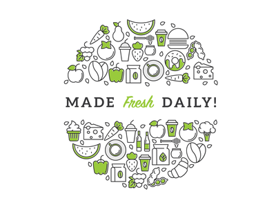 Made Fresh Daily circular clean simple black green icon set icon daily fresh made