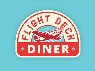 Flight Deck Diner 50s flying plane blue red branding logo diner logo diner deck flight