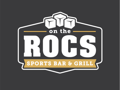 On The ROCs brand badge black  white gold black ice cubes grill sports bar rocs the on