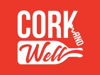 Cork and Well corkscrew minimlist bar drinks wine red orange brand logo well cork