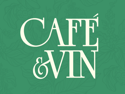 Cafe & Vin minimal serif sleek pattern coffeeplant coffee plants green logo branding cafe logo wine cafe