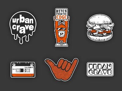 Urban Crave Stickers restaurant label orange drip brand logo hand cassette burger set stickers crave urban