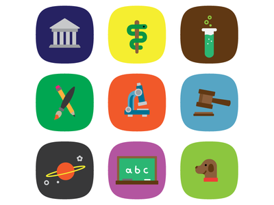learn things education astronomy caduceus learn law medicine chemistry art microscope gavel space chalkboard pet veterinary color squircle icons icon focus lab discarded