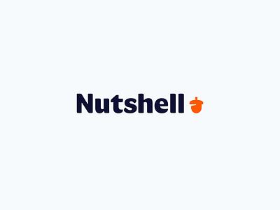 Nutshell 🚀Launch crm nutshell acorn orange icon custom typography identity mark brand logo