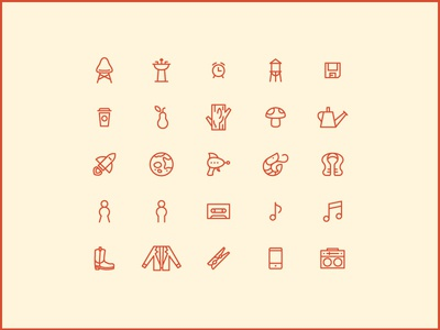 Chair 'n' Pear icons focus lab stroke chair pear rocket shrimp mushroom cassette water tower sink clothespin