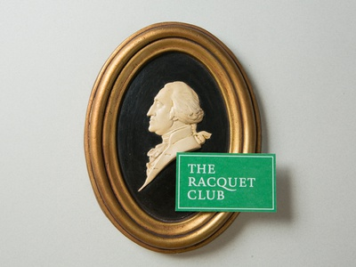 The Racquet Club ping pong table tennis racquet green logo typography mark club crest