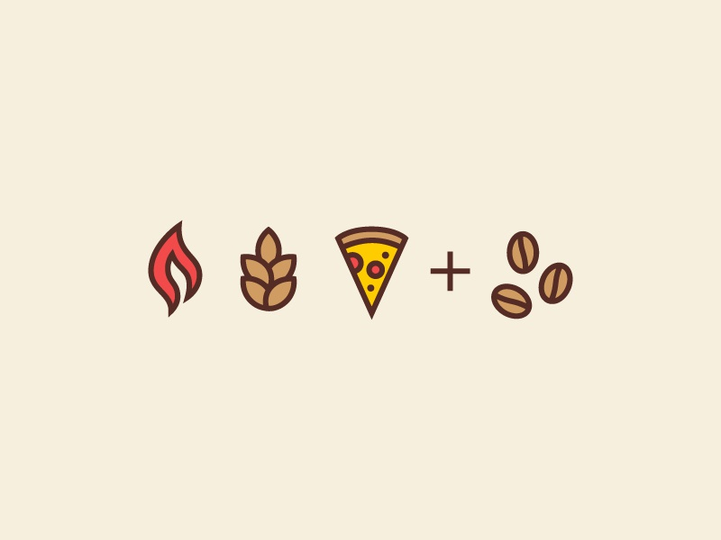 FFP+C flame wheat cheese identity brand pizzaria cafe icons coffee pizza flour fire