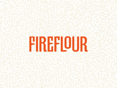 Fireflour type custom type design letters orange brand typography logotype mark logo cheese pizza