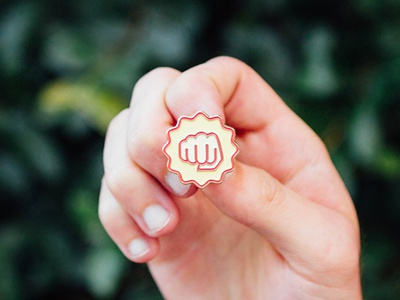 👊 👊 trace identity brand red gold bump icon fist pin enamel