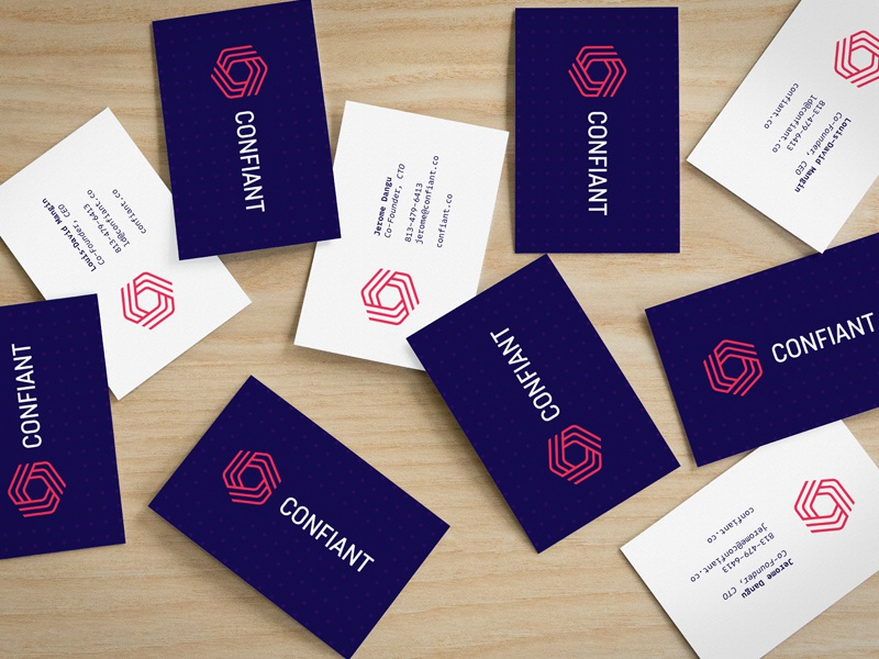 Confiant Business Card print security malware purple identity brand logo tech software confiant