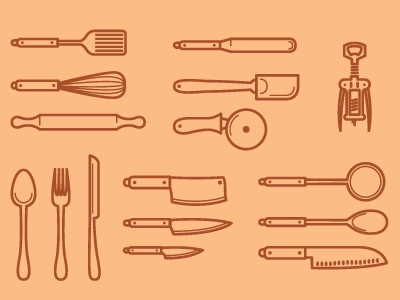 kitchen utensils icons kitchen utensils wine opener spatula knife knives pizza cutter spoon fork rolling pin whisk ladle icing spreader sharp